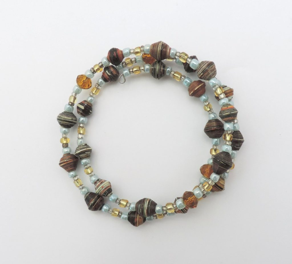 Paper+bead+coil+bracelet+blue.yellow